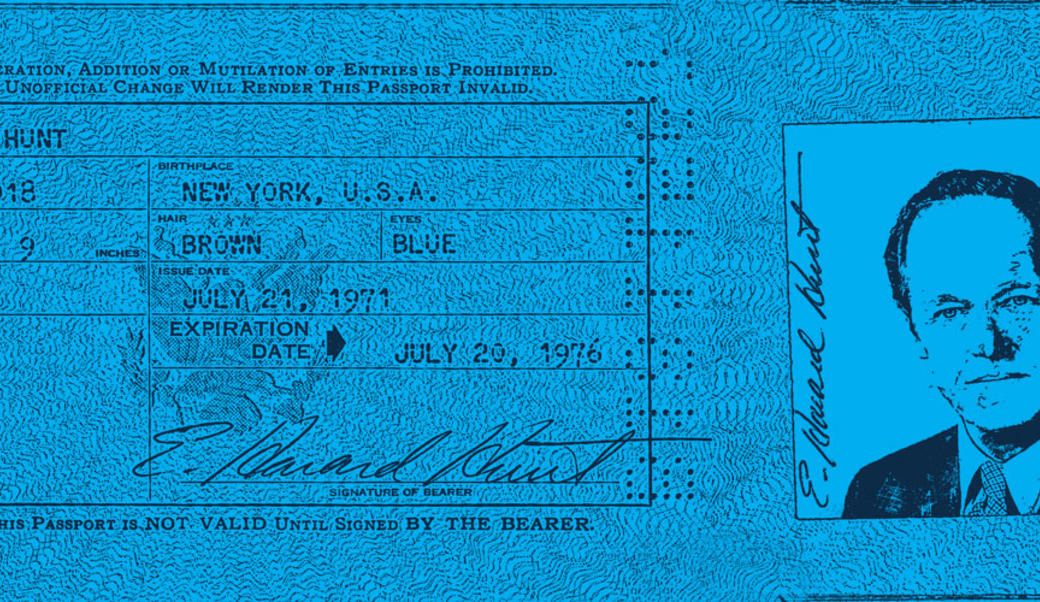 Passport of E. Howard Hunt rendered in dark blue and light blue