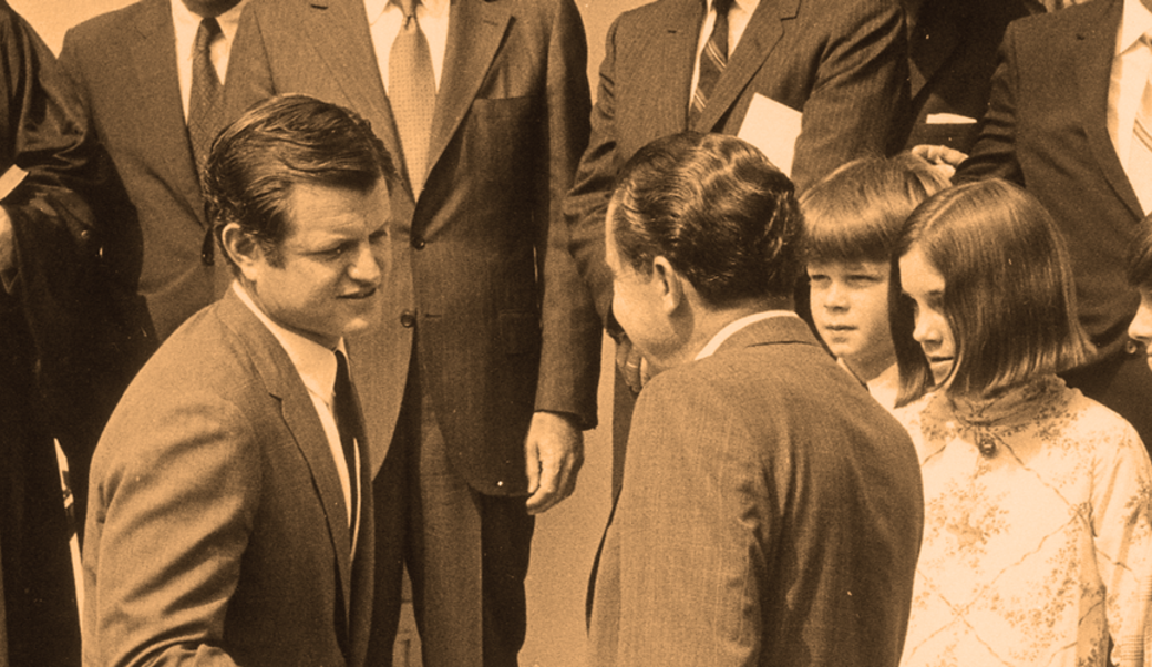 Edward Kennedy shaking hands with Richard Nixon