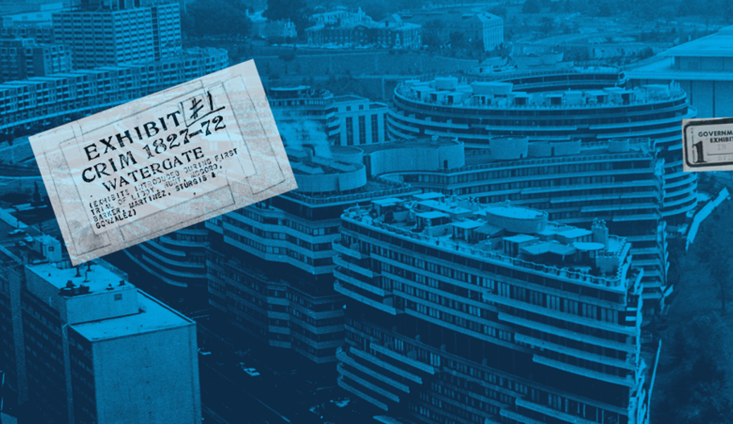 Watergate hotel with trial exhibit label—tinted blue