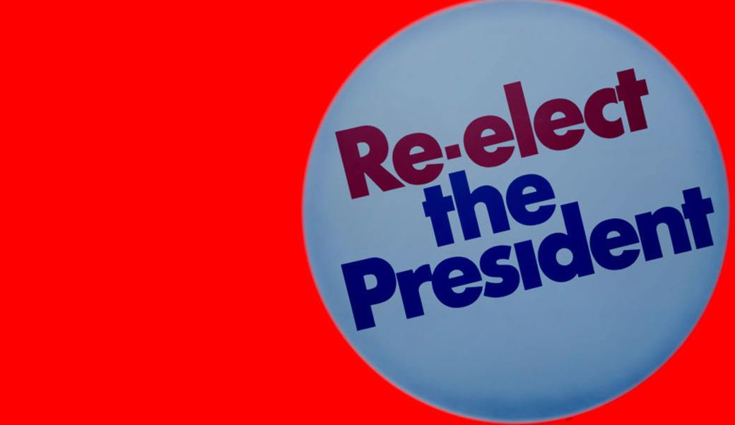 """Re-elect the president"" button on red background"