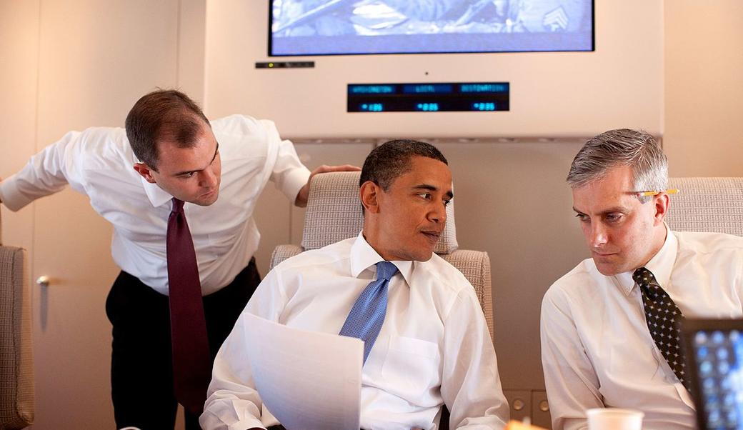 Obama with his speechwriters