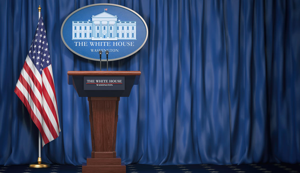 podium at the whitehouse press briefing