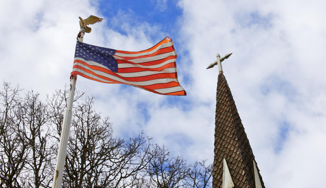 church and American flag