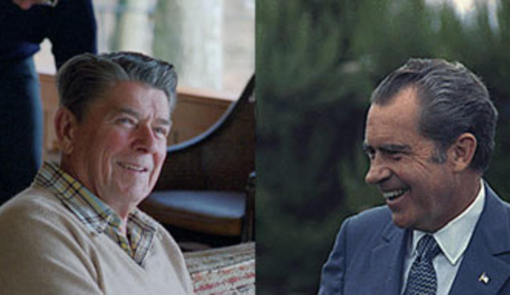 Ronald Reagan and Richard Nixon, split screen