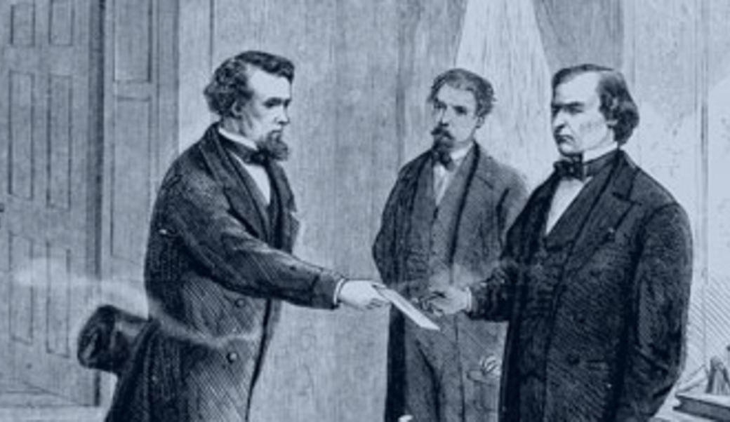 Drawing of Andrew Johnson being handed a letter
