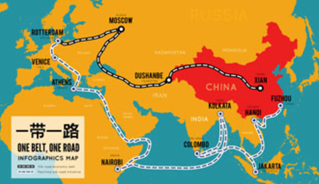 Map of road running from China across Asia