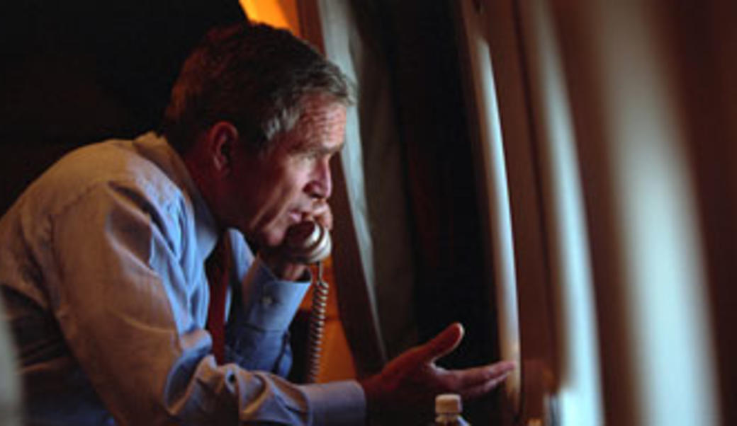 George W. Bush on the phone on AirForce One