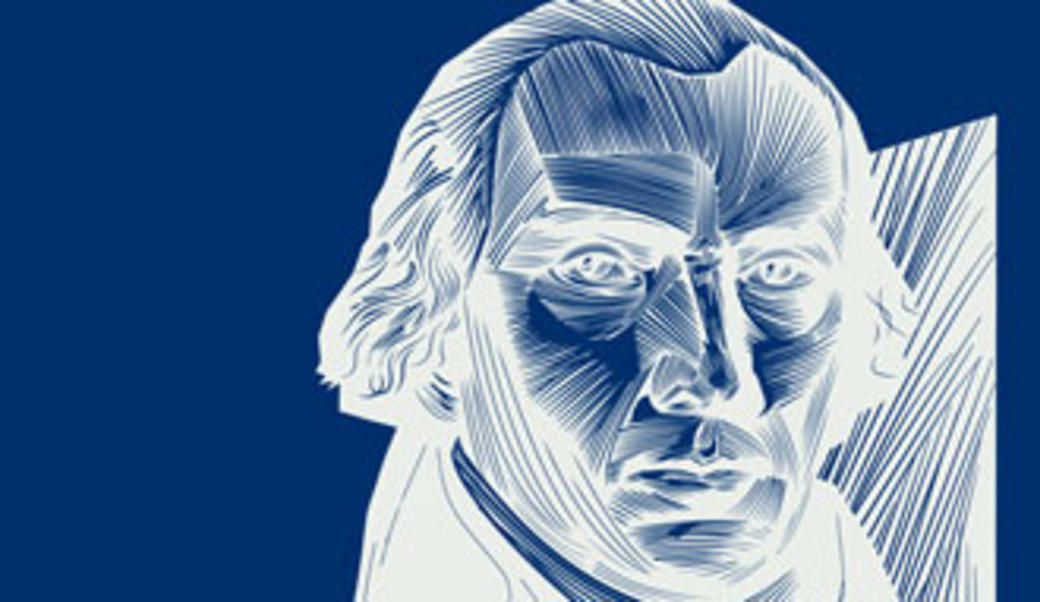 Woodcut-style depiction of James Madison in dark blue