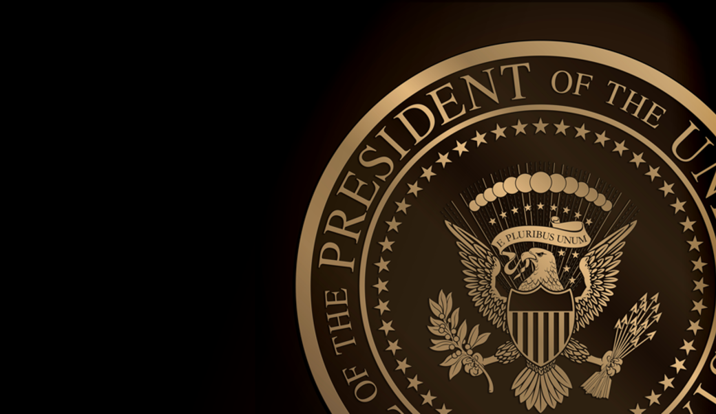 Presidential seal in gold on black background