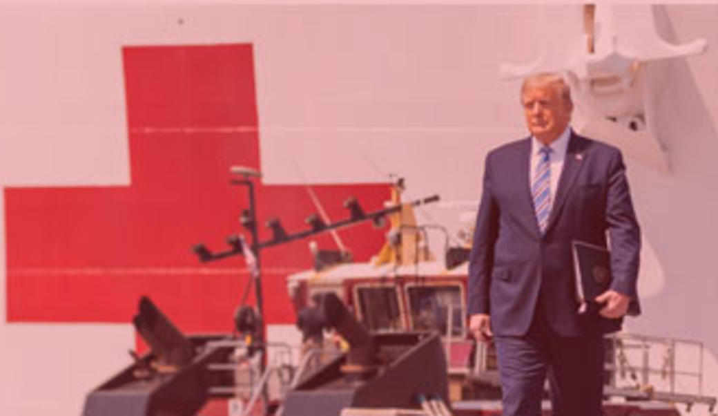 Donald Trump in front of ship with red cross