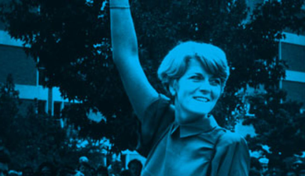Geraldine Ferraro waving, photo in black and blue