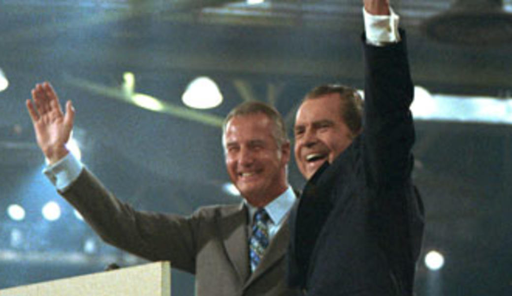 Spiro Agnew and Richard Nixon waving