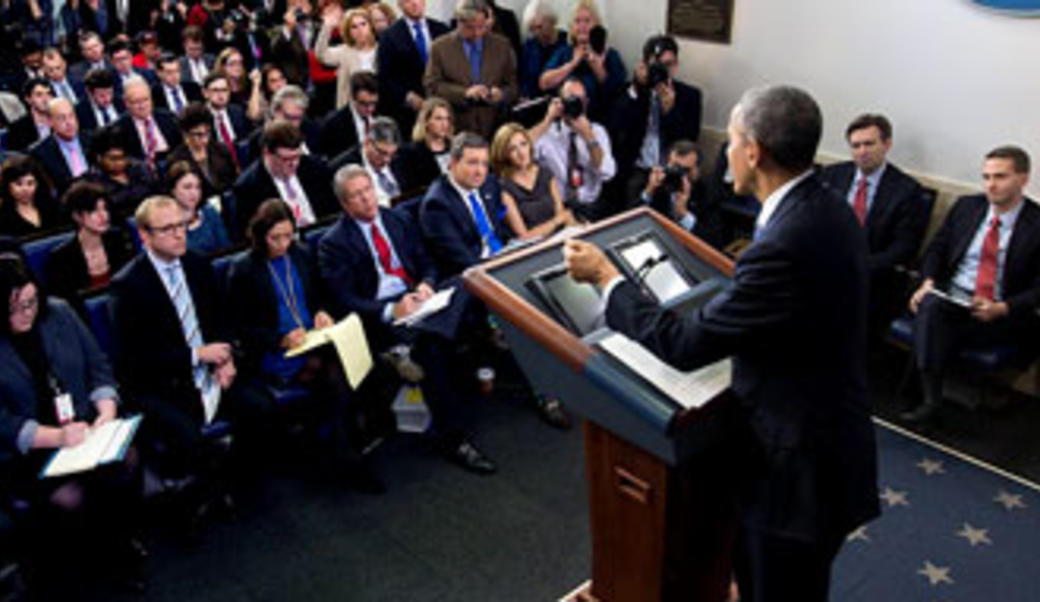 President Obama at a press conferences
