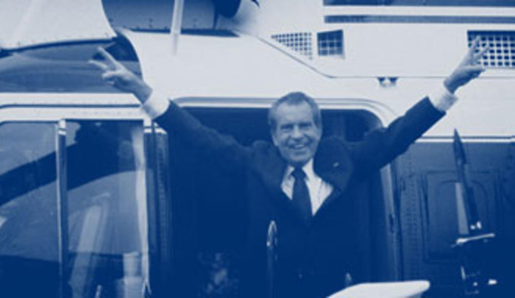Nixon waving goodbye after Watergate
