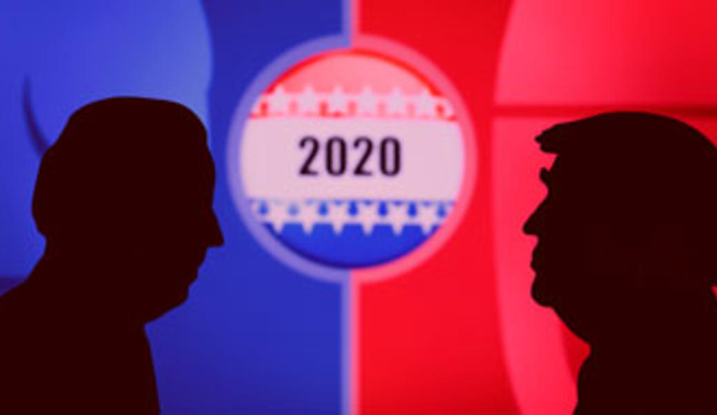 Silhouettes of Biden and Trump
