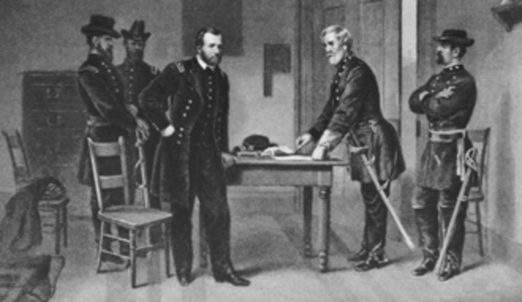 Lee surrenders to Grant at Appomattox Court House, Virginia, April 9, 1865, from 'The New York Times'