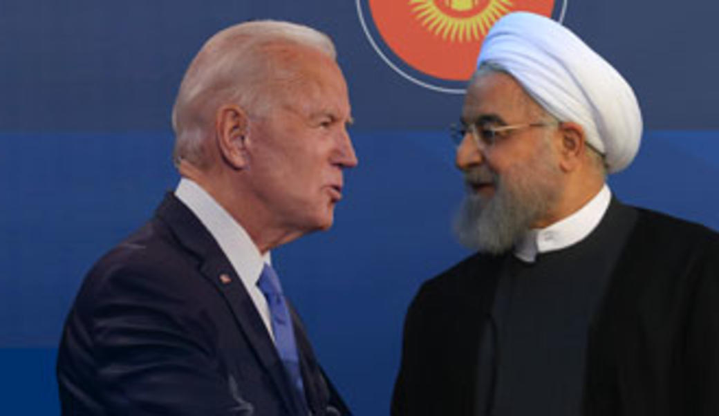 Joe Biden and Hassan Rouhani facing each other