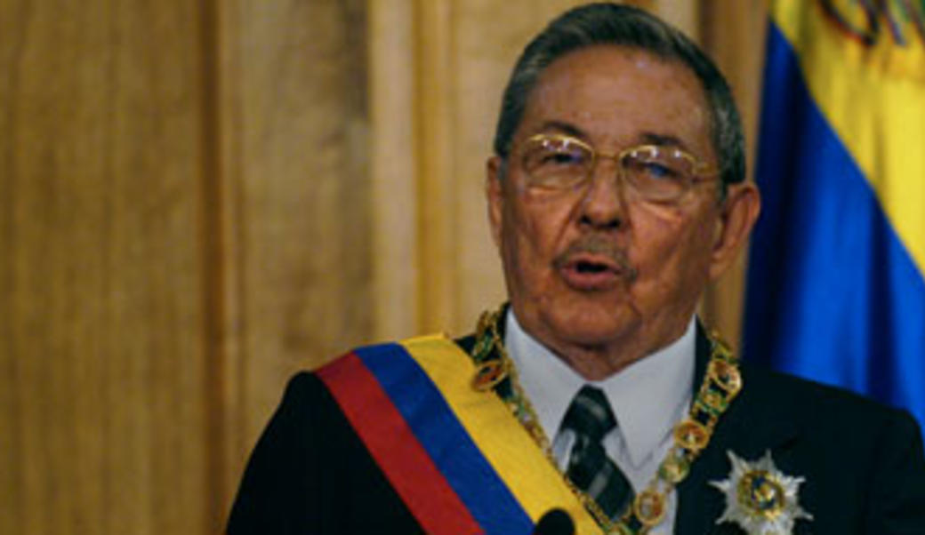Raul Castro at lectern
