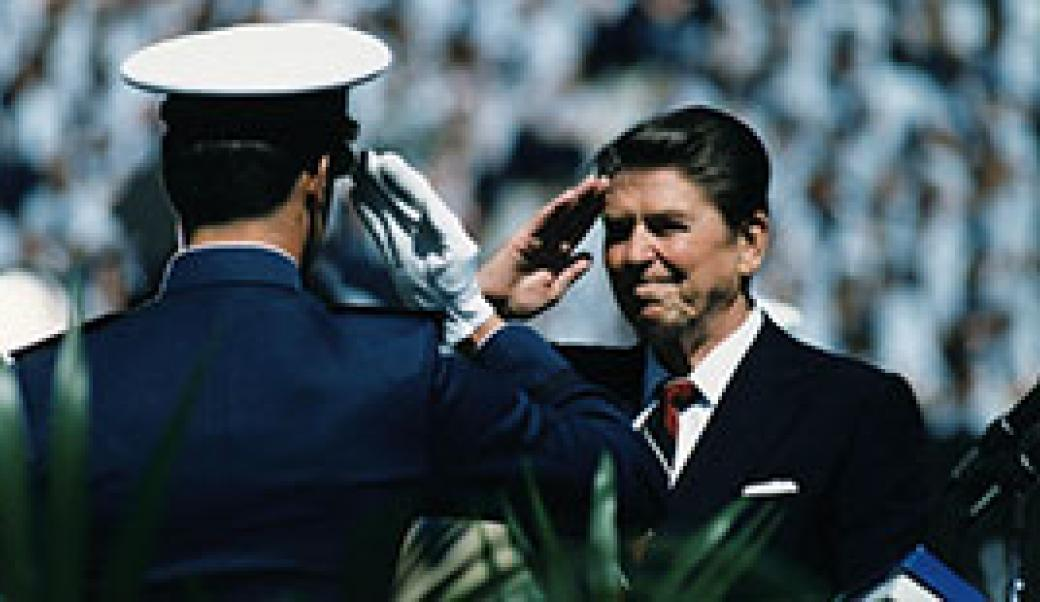 Reagan saluting