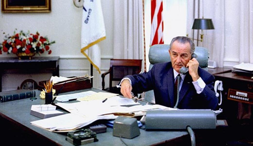 President Johnson on the telephone