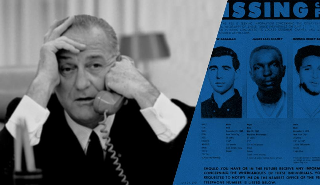 LBJ on the phone with poster of missing youth