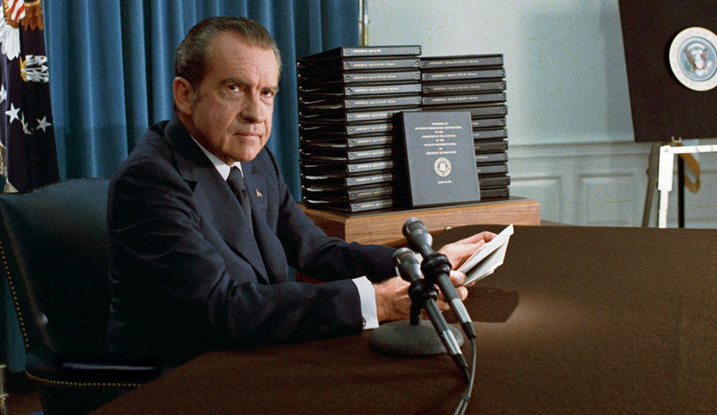 Richard Nixon at microphone