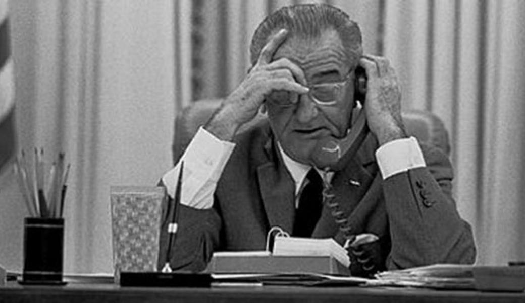 President Johnson on the phone
