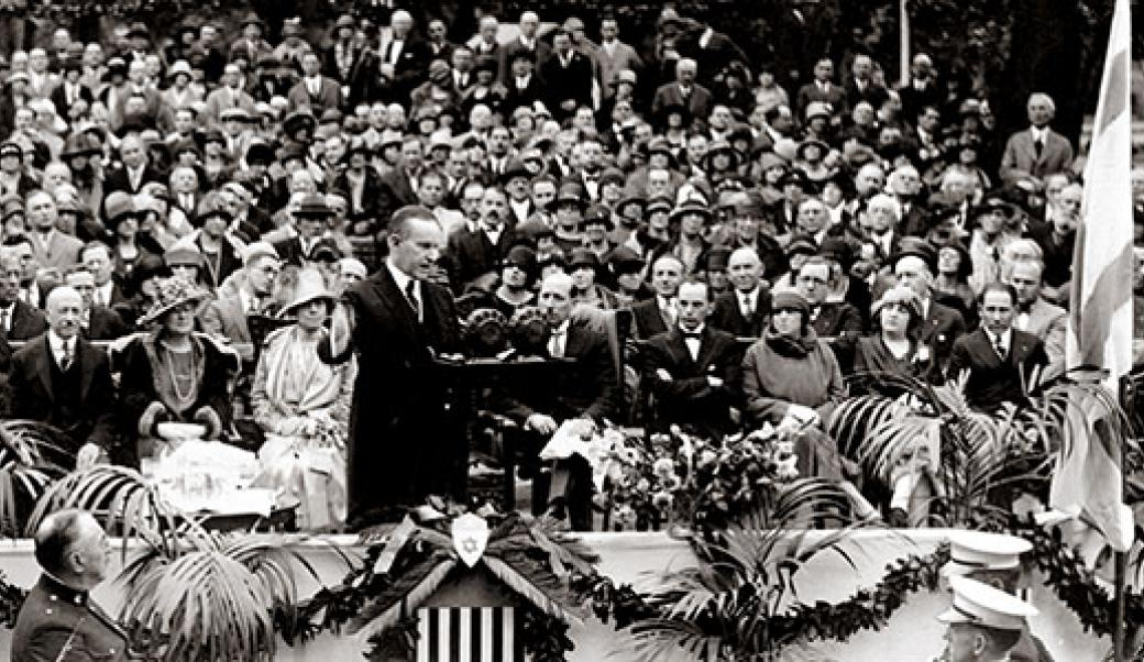 Calvin Coolidge giving a speech