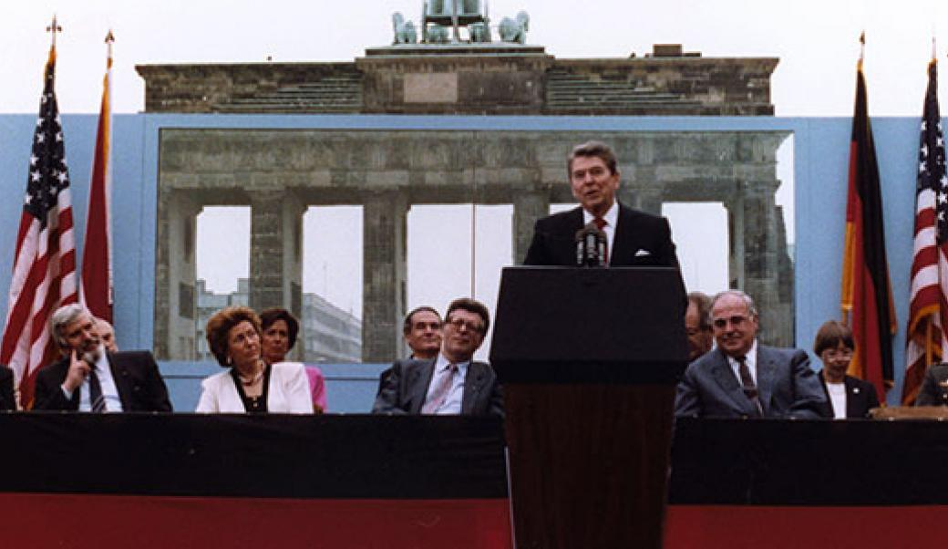 Ronald Reagan speaking at the Berlin Wall