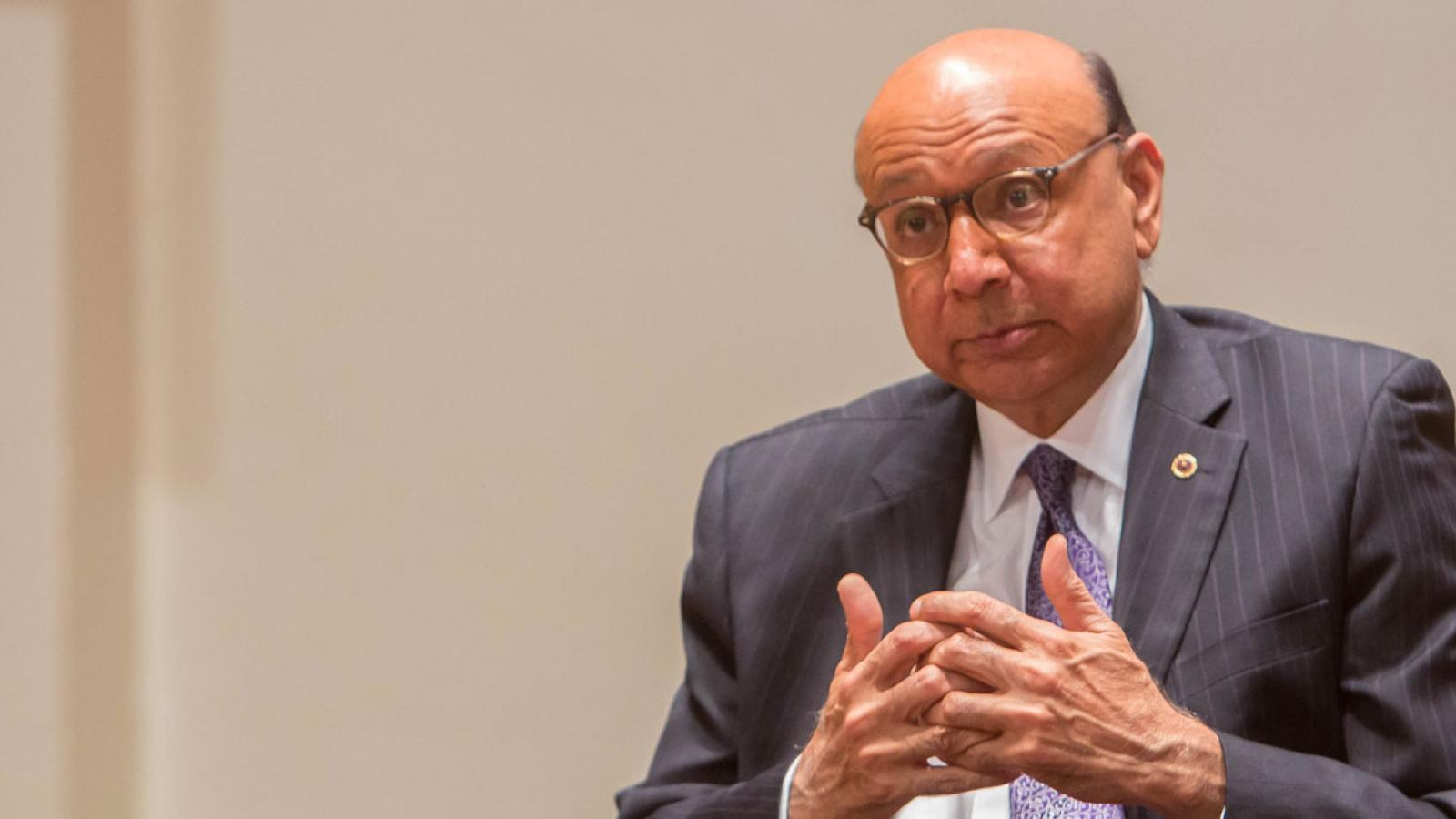 Khizr Khan takes questions from the American Forum studio audience