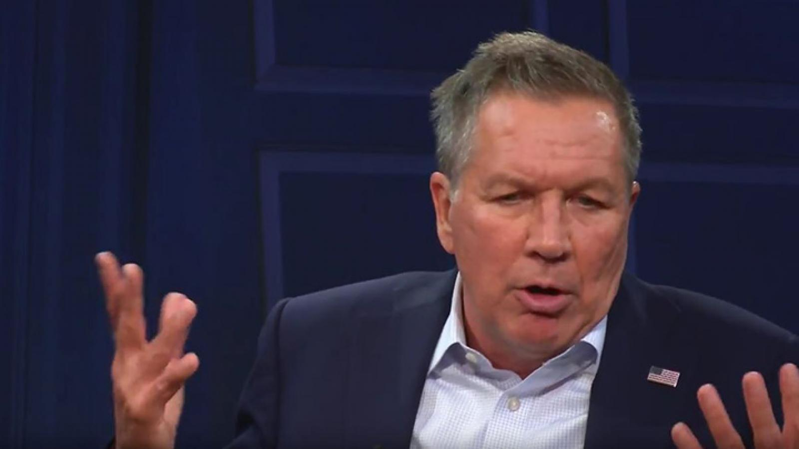 Ohio governor and Republican Party presidential candidate John Kasich takes questions from the American Forum studio audience