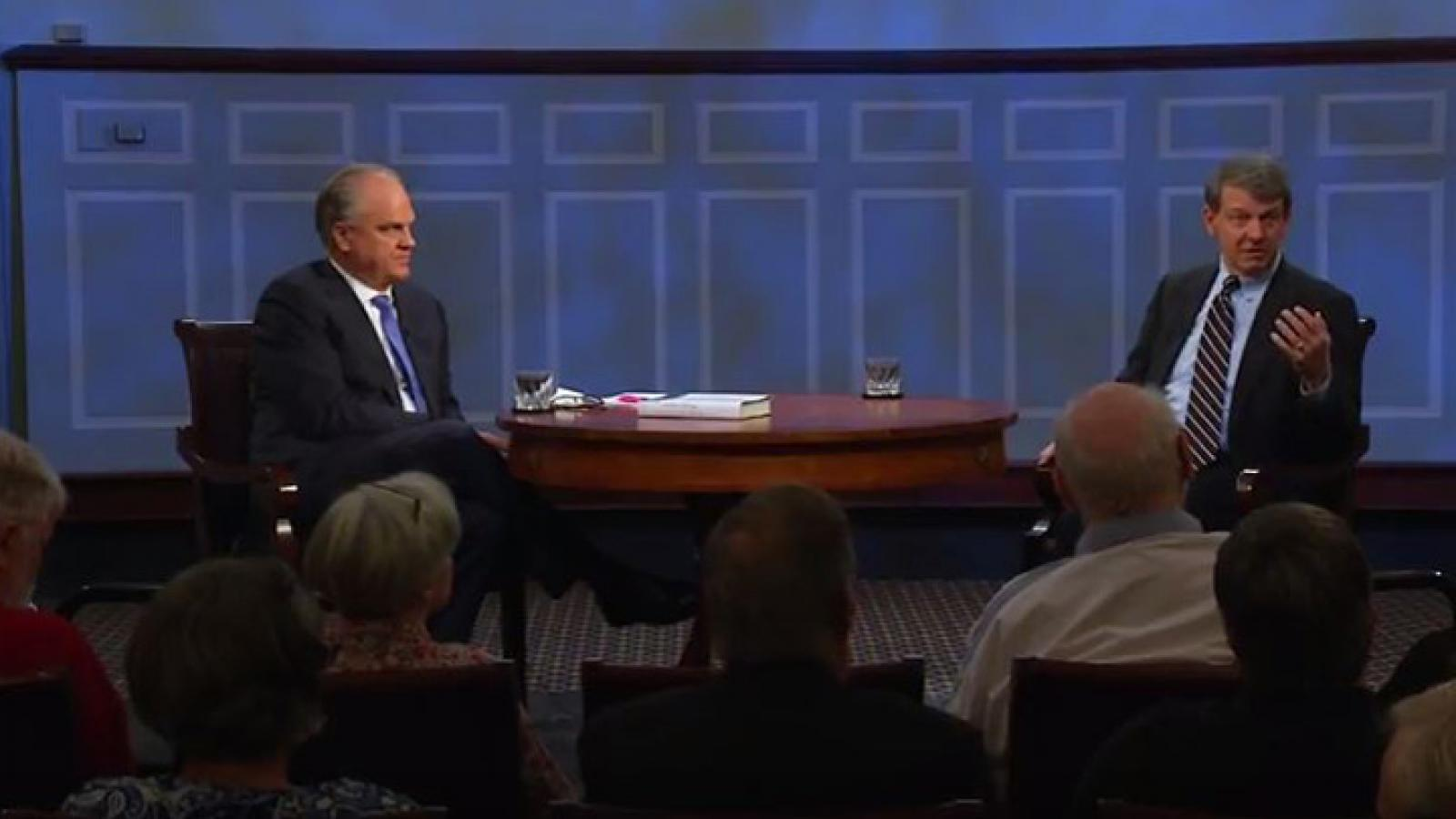 Russell Riley, an expert on the Clinton presidency, takes questions from the American Forum studio audience