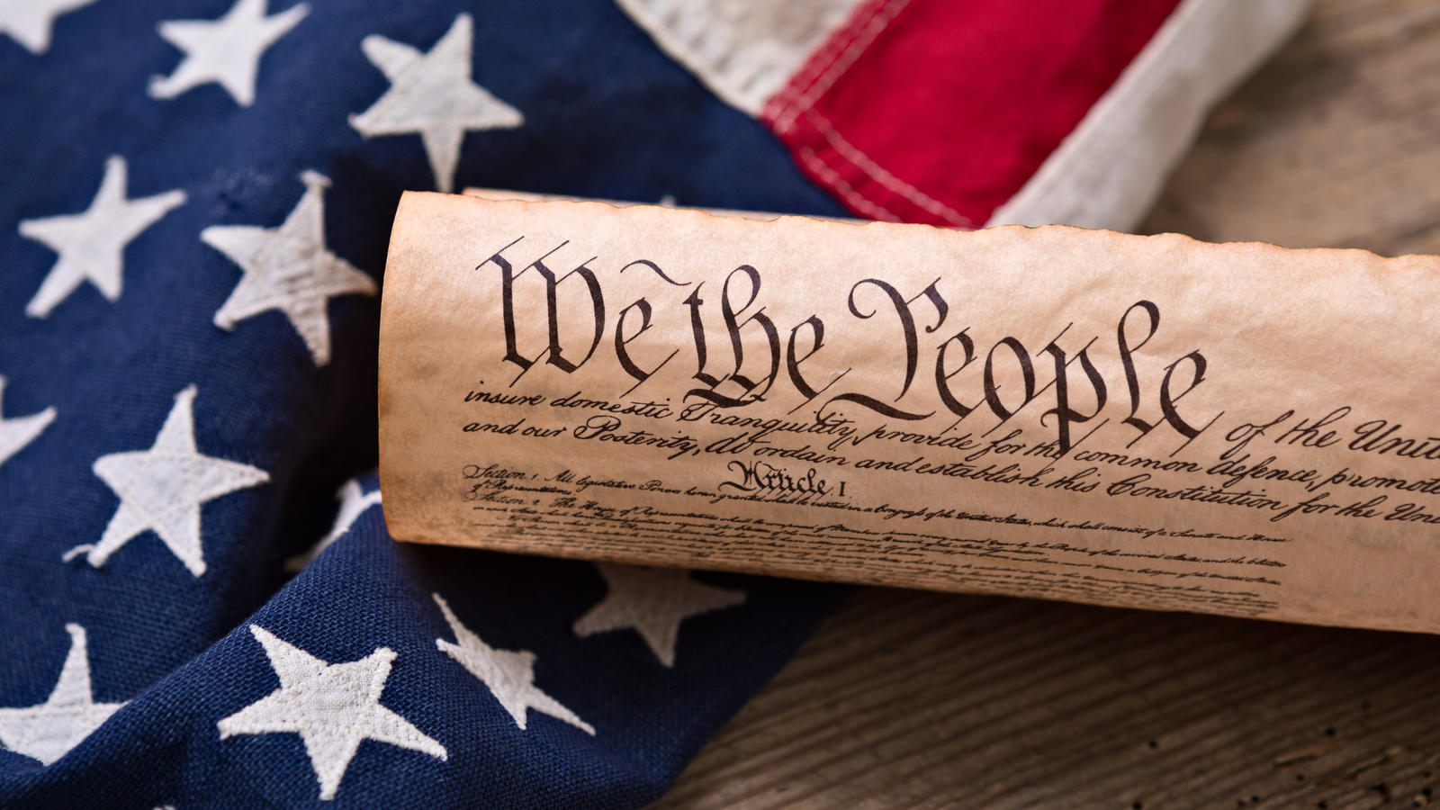 flag and US constitution