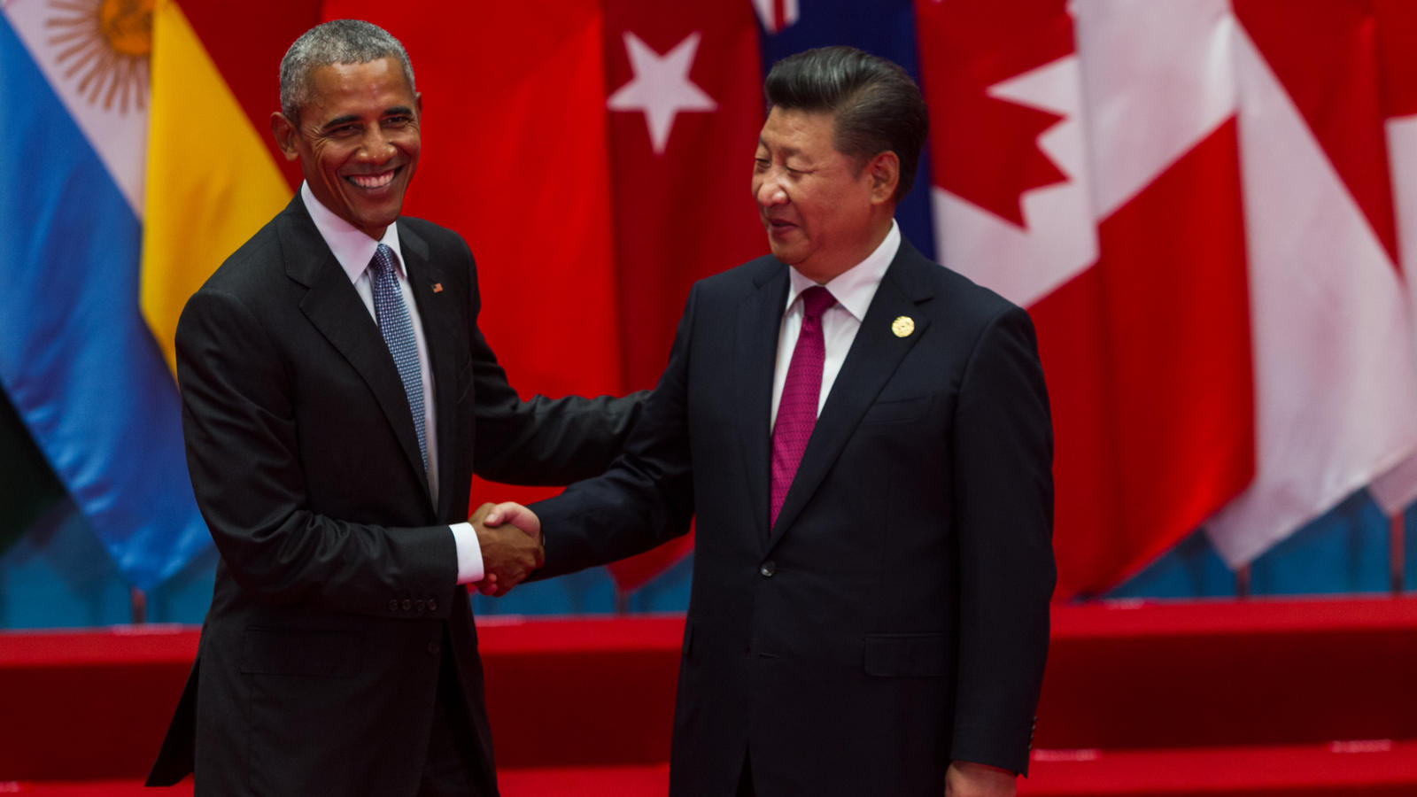 President Obama shaking hands with China's President Xi Jinping